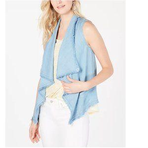 Style & Co Chambray Draped-Front Frayed-Hem Vest